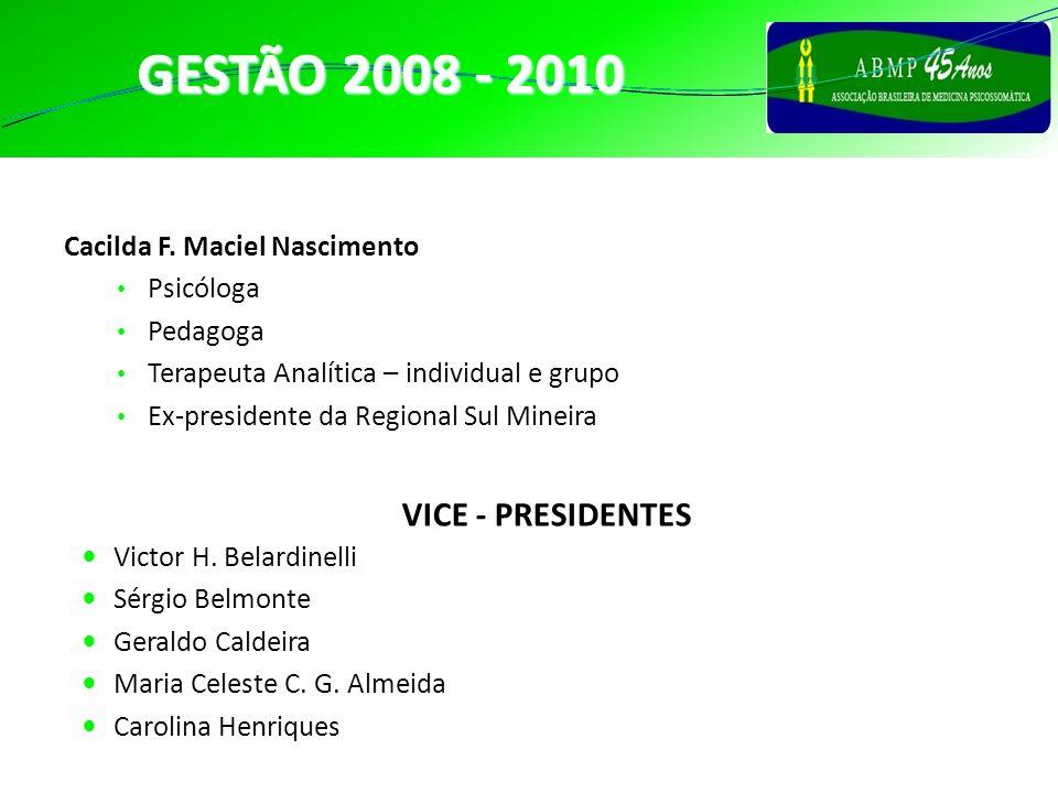 PRESIDENTE GESTÃO 2008 - 2010 Cacilda F. Maciel Nascimento Psicóloga Pedagoga Terapeuta Analítica – individual e grupo Ex-presidente da Regional Sul M