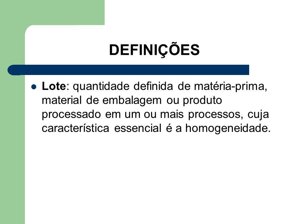 DEFINIÇÕES Lote: quantidade definida de matéria-prima, material de embalagem ou produto processado em um ou mais processos, cuja característica essenc