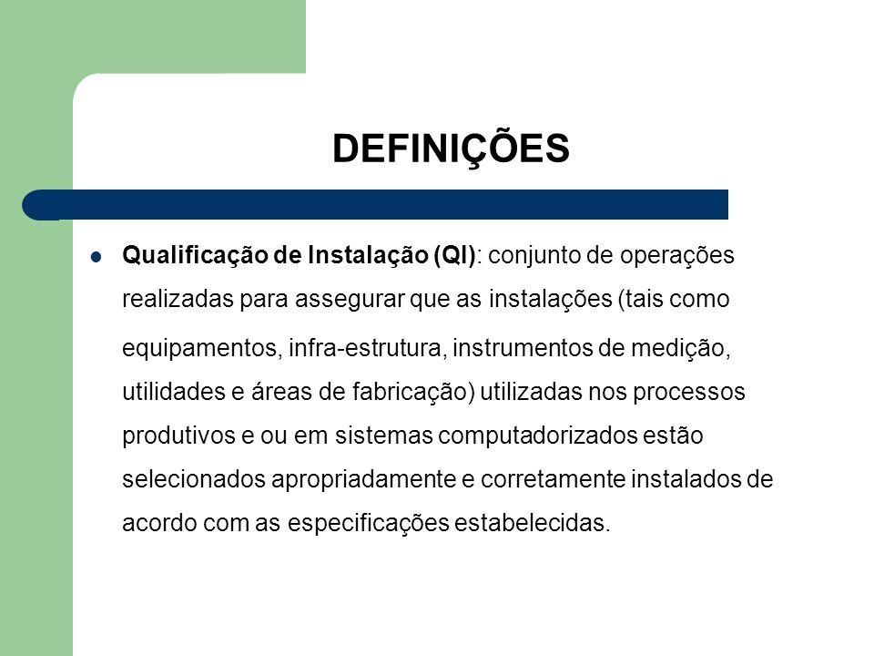 DEFINIÇÕES Qualificação de Instalação (QI): conjunto de operações realizadas para assegurar que as instalações (tais como equipamentos, infra-estrutur