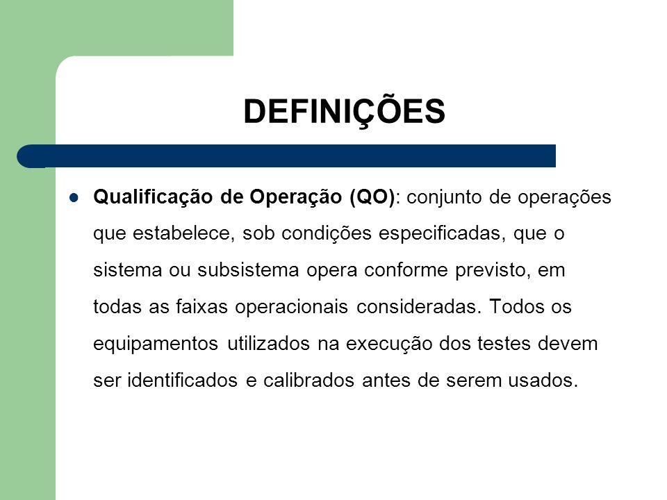 DEFINIÇÕES Qualificação de Operação (QO): conjunto de operações que estabelece, sob condições especificadas, que o sistema ou subsistema opera conform