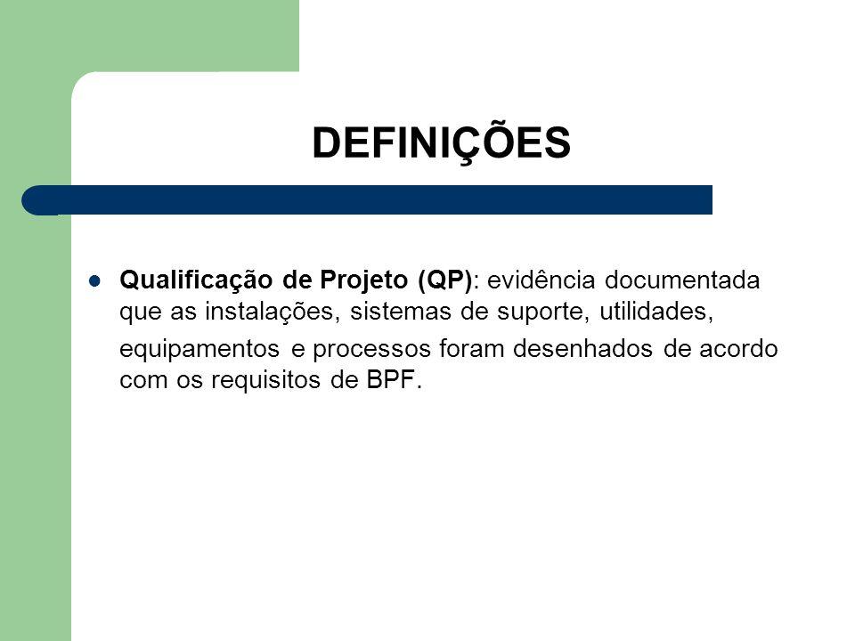 DEFINIÇÕES Qualificação de Projeto (QP): evidência documentada que as instalações, sistemas de suporte, utilidades, equipamentos e processos foram des