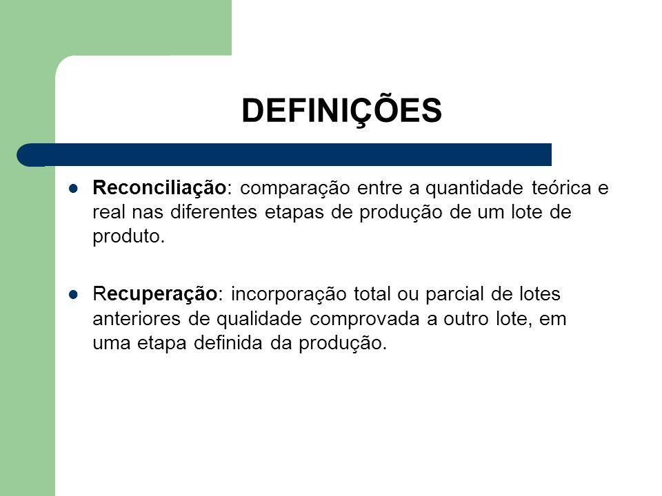 DEFINIÇÕES Reconciliação: comparação entre a quantidade teórica e real nas diferentes etapas de produção de um lote de produto. Recuperação: incorpora