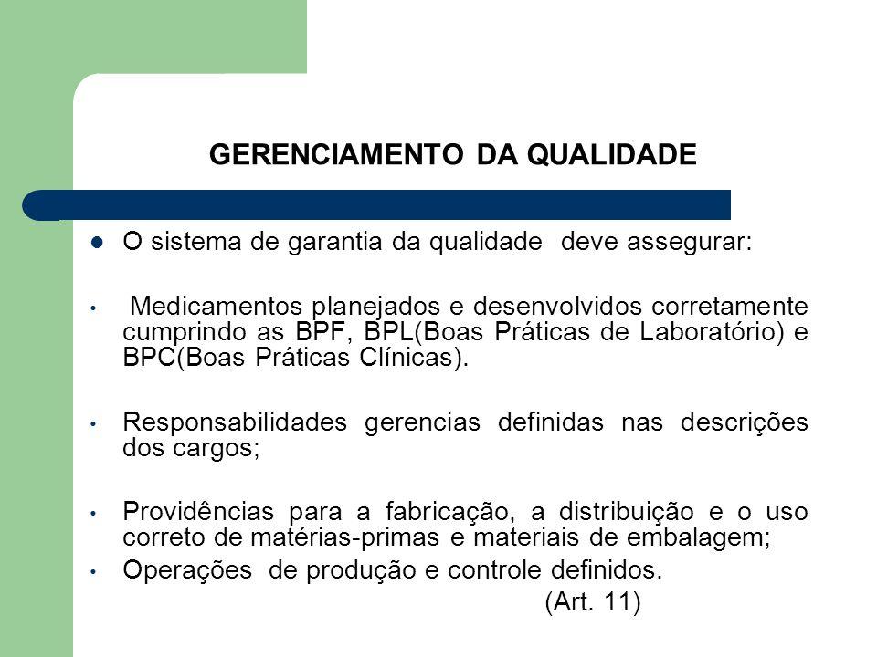 GERENCIAMENTO DA QUALIDADE O sistema de garantia da qualidade deve assegurar: Medicamentos planejados e desenvolvidos corretamente cumprindo as BPF, B