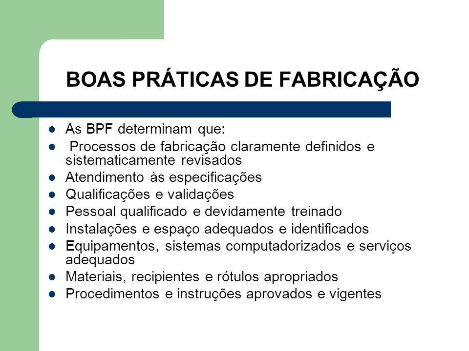 BOAS PRÁTICAS DE FABRICAÇÃO As BPF determinam que: Processos de fabricação claramente definidos e sistematicamente revisados Atendimento às especifica