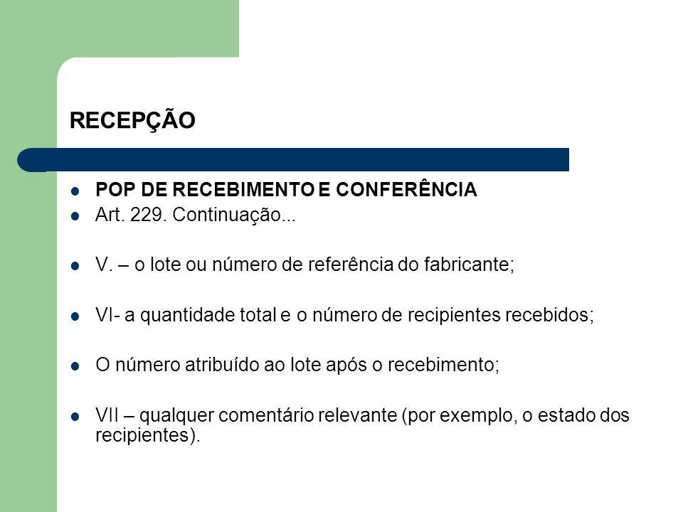 RECEPÇÃO POP DE RECEBIMENTO E CONFERÊNCIA Art. 229. Continuação... V. – o lote ou número de referência do fabricante; VI- a quantidade total e o númer