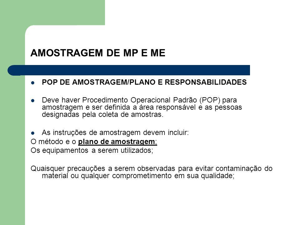AMOSTRAGEM DE MP E ME POP DE AMOSTRAGEM/PLANO E RESPONSABILIDADES Deve haver Procedimento Operacional Padrão (POP) para amostragem e ser definida a ár