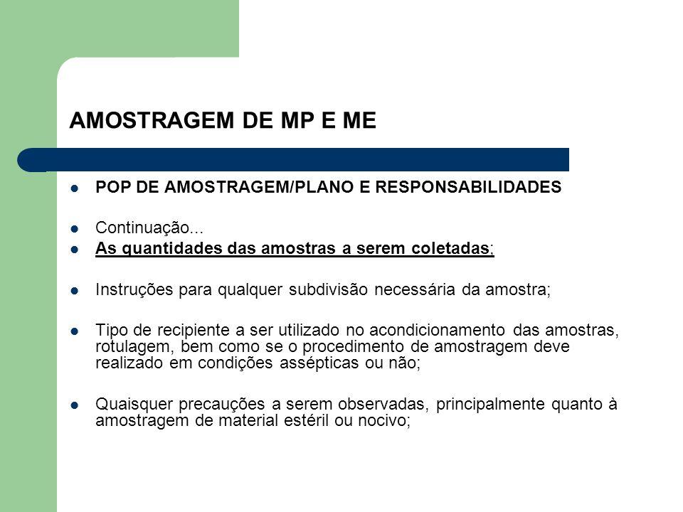 AMOSTRAGEM DE MP E ME POP DE AMOSTRAGEM/PLANO E RESPONSABILIDADES Continuação... As quantidades das amostras a serem coletadas; Instruções para qualqu