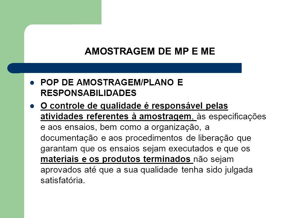 AMOSTRAGEM DE MP E ME POP DE AMOSTRAGEM/PLANO E RESPONSABILIDADES O controle de qualidade é responsável pelas atividades referentes à amostragem, às e