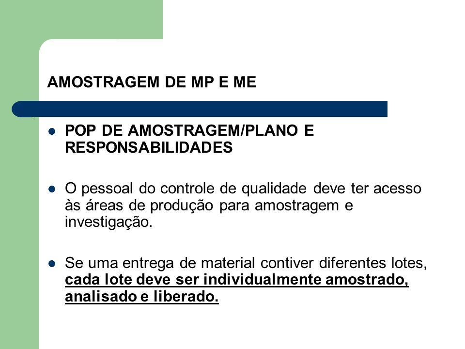 AMOSTRAGEM DE MP E ME POP DE AMOSTRAGEM/PLANO E RESPONSABILIDADES O pessoal do controle de qualidade deve ter acesso às áreas de produção para amostra