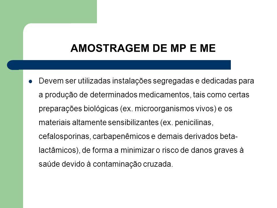 AMOSTRAGEM DE MP E ME Devem ser utilizadas instalações segregadas e dedicadas para a produção de determinados medicamentos, tais como certas preparaçõ