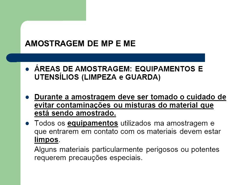 AMOSTRAGEM DE MP E ME ÁREAS DE AMOSTRAGEM: EQUIPAMENTOS E UTENSÍLIOS (LIMPEZA e GUARDA) Durante a amostragem deve ser tomado o cuidado de evitar conta