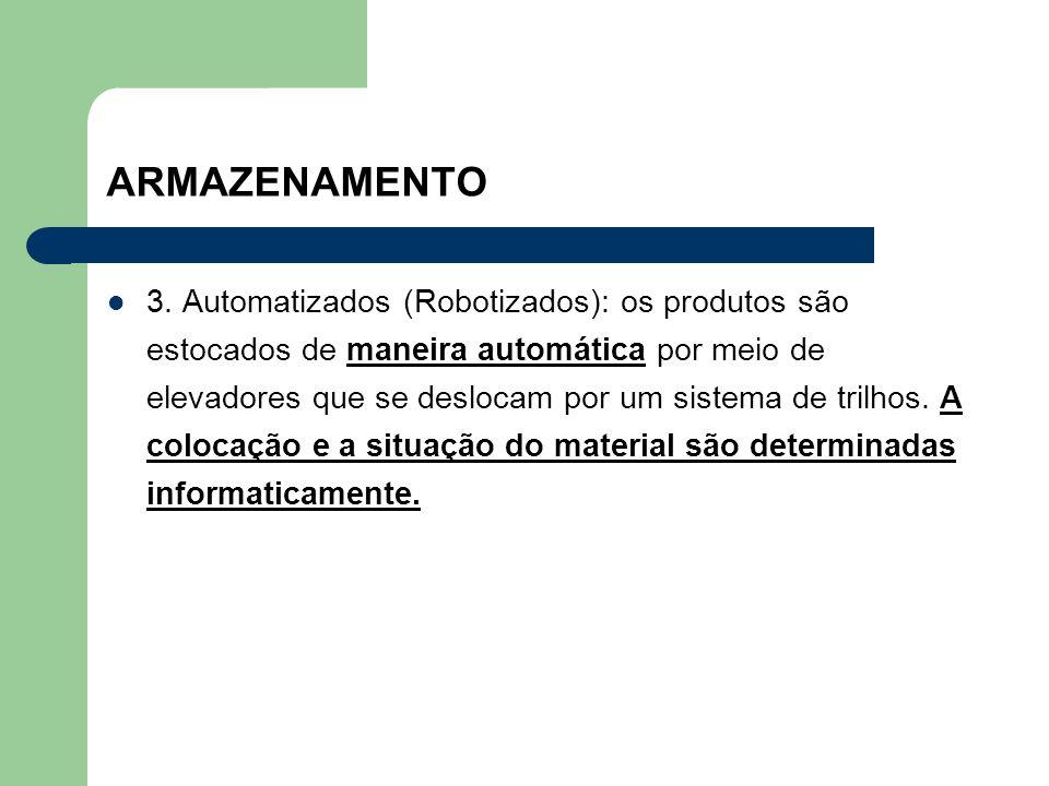 ARMAZENAMENTO 3. Automatizados (Robotizados): os produtos são estocados de maneira automática por meio de elevadores que se deslocam por um sistema de