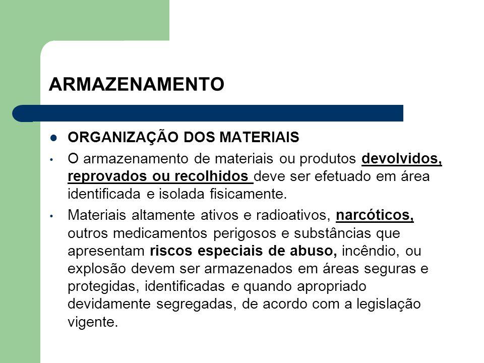 ARMAZENAMENTO ORGANIZAÇÃO DOS MATERIAIS O armazenamento de materiais ou produtos devolvidos, reprovados ou recolhidos deve ser efetuado em área identi