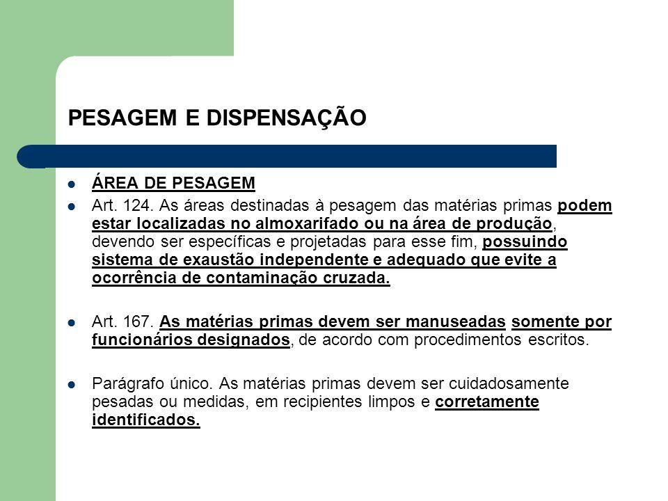 PESAGEM E DISPENSAÇÃO ÁREA DE PESAGEM Art. 124. As áreas destinadas à pesagem das matérias primas podem estar localizadas no almoxarifado ou na área d