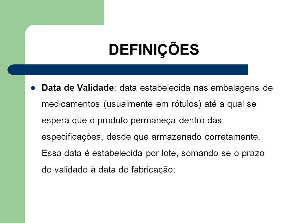 DEFINIÇÕES Data de Validade: data estabelecida nas embalagens de medicamentos (usualmente em rótulos) até a qual se espera que o produto permaneça den