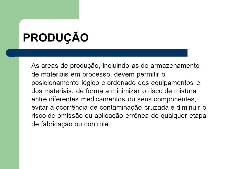 PRODUÇÃO As áreas de produção, incluindo as de armazenamento de materiais em processo, devem permitir o posicionamento lógico e ordenado dos equipamen
