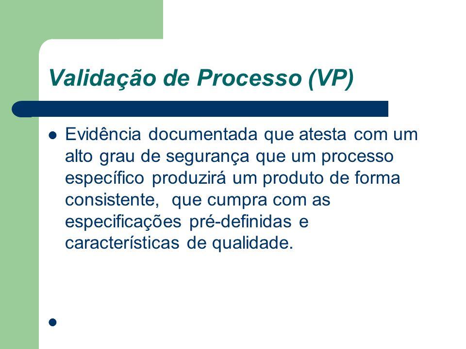 Validação de Processo (VP) Evidência documentada que atesta com um alto grau de segurança que um processo específico produzirá um produto de forma con
