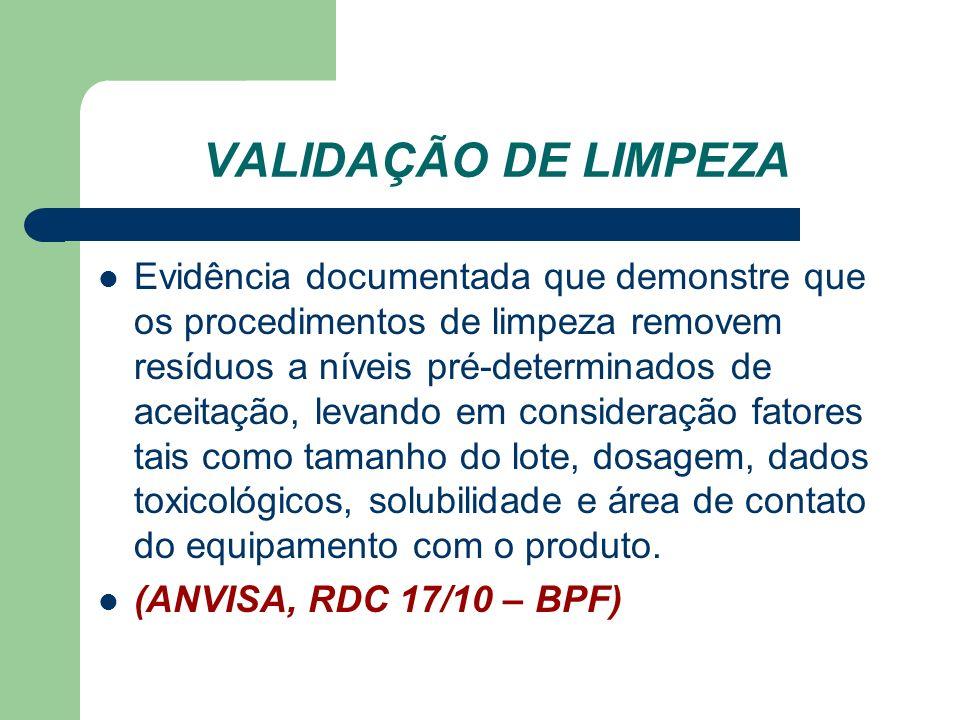 VALIDAÇÃO DE LIMPEZA Evidência documentada que demonstre que os procedimentos de limpeza removem resíduos a níveis pré-determinados de aceitação, leva