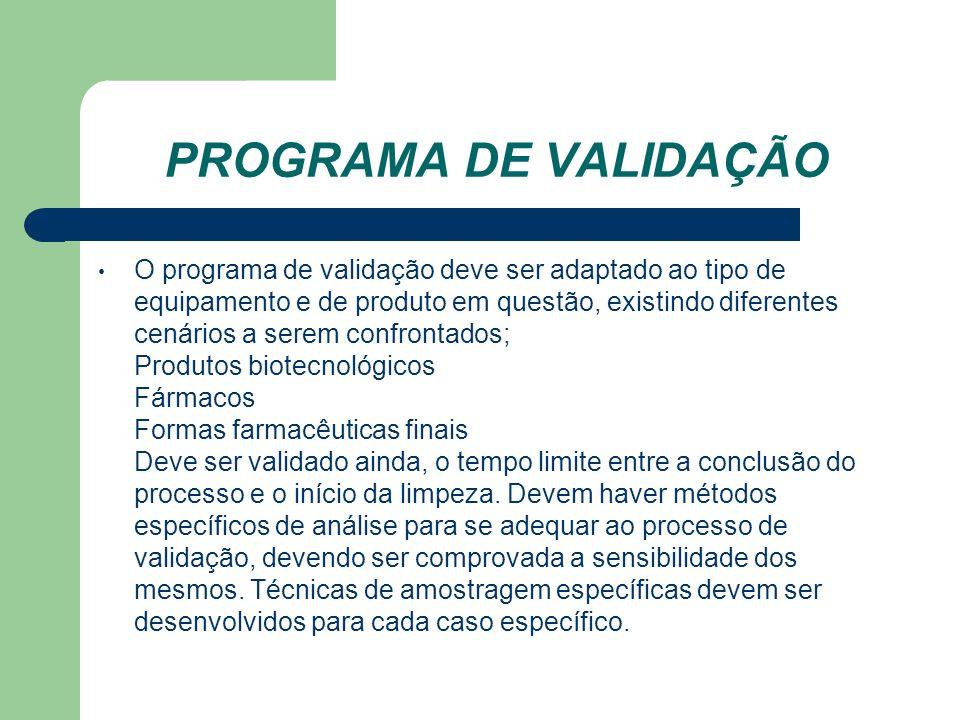 PROGRAMA DE VALIDAÇÃO O programa de validação deve ser adaptado ao tipo de equipamento e de produto em questão, existindo diferentes cenários a serem