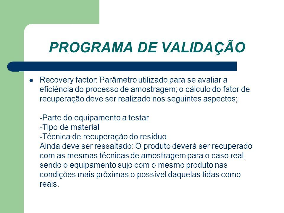 PROGRAMA DE VALIDAÇÃO Recovery factor: Parâmetro utilizado para se avaliar a eficiência do processo de amostragem; o cálculo do fator de recuperação d