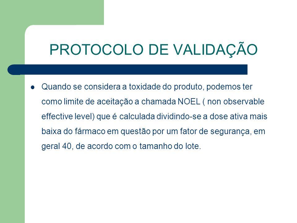 PROTOCOLO DE VALIDAÇÃO Quando se considera a toxidade do produto, podemos ter como limite de aceitação a chamada NOEL ( non observable effective level