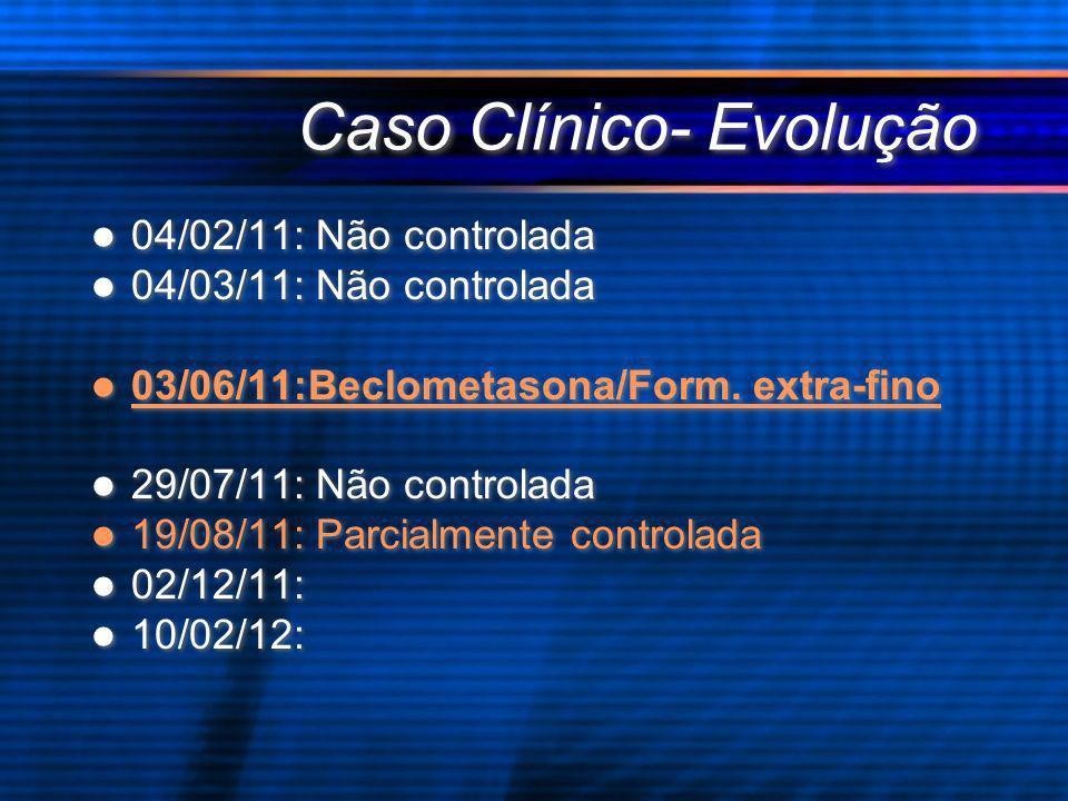 Caso Clínico- Evolução 04/02/11: Não controlada 04/03/11: Não controlada 03/06/11:Beclometasona/Form. extra-fino 29/07/11: Não controlada 19/08/11: Pa