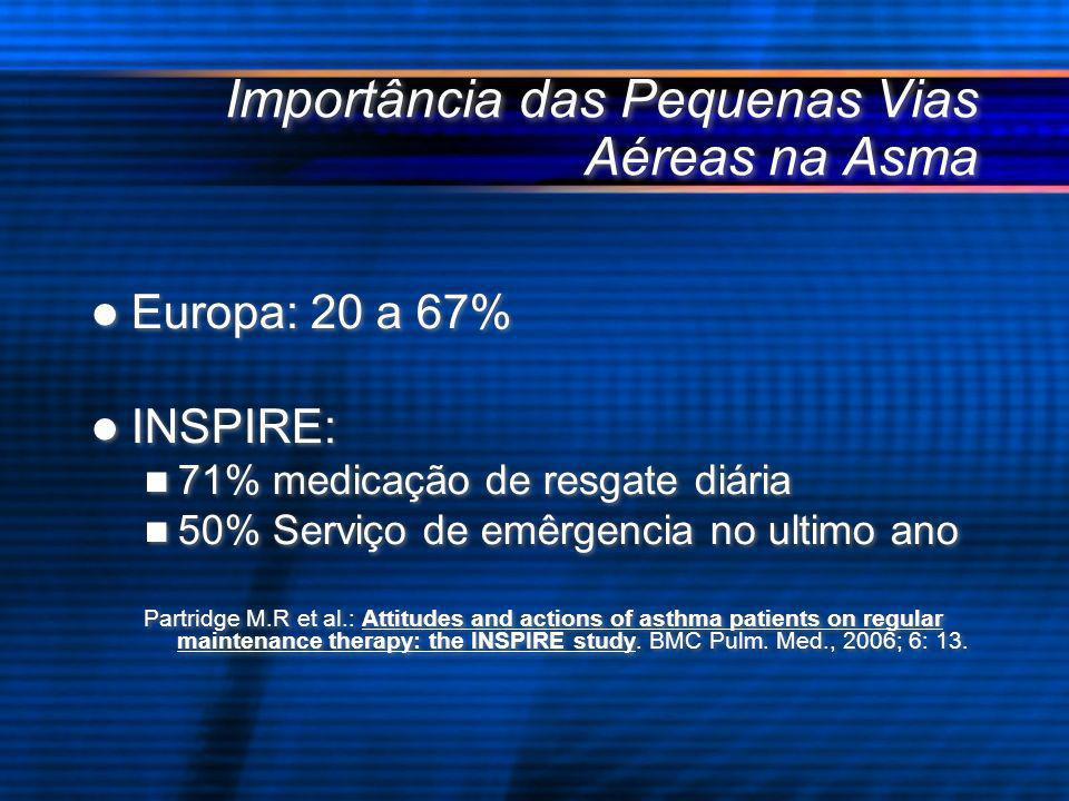 Importância das Pequenas Vias Aéreas na Asma Europa: 20 a 67% INSPIRE: 71% medicação de resgate diária 50% Serviço de emêrgencia no ultimo ano Partrid