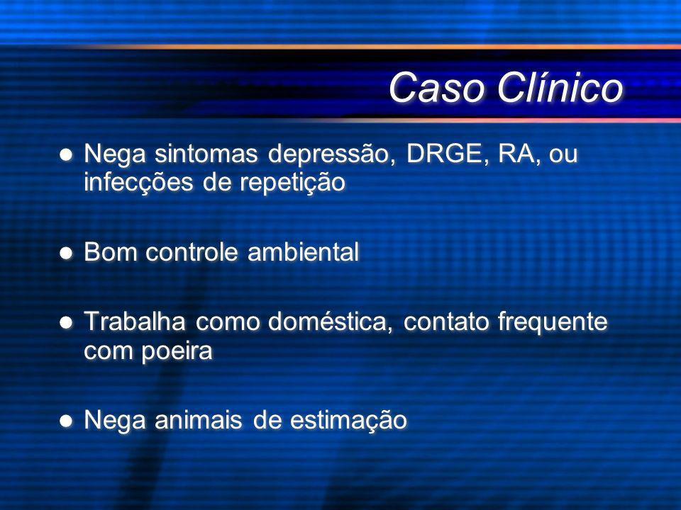 Caso Clínico Nega sintomas depressão, DRGE, RA, ou infecções de repetição Bom controle ambiental Trabalha como doméstica, contato frequente com poeira