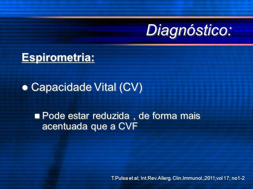 Diagnóstico: Espirometria: Capacidade Vital (CV) Pode estar reduzida, de forma mais acentuada que a CVF Espirometria: Capacidade Vital (CV) Pode estar