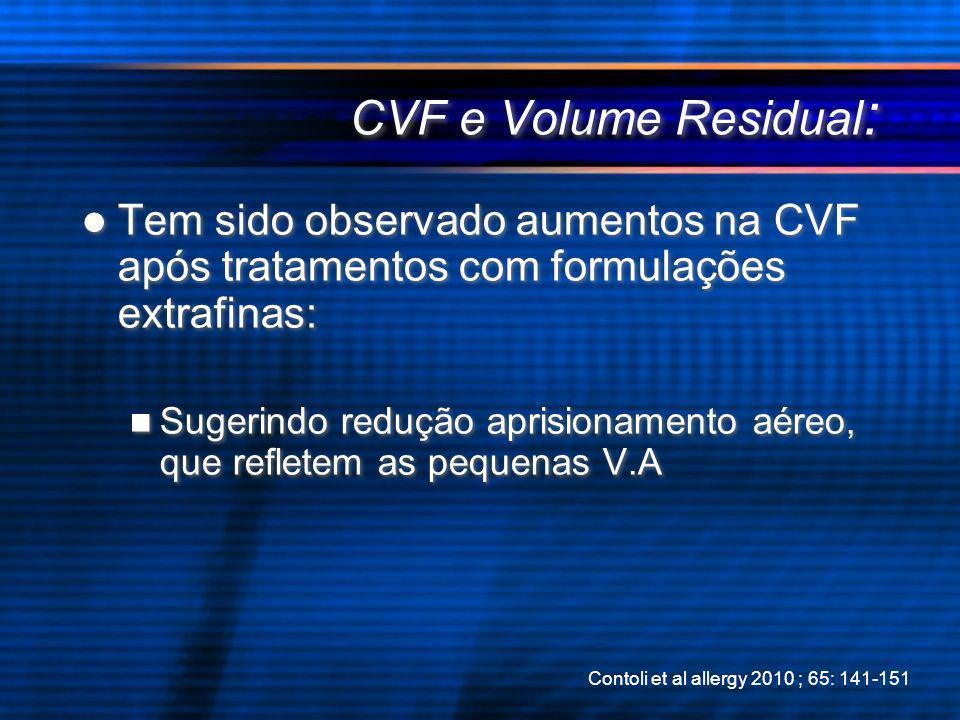 CVF e Volume Residual : Tem sido observado aumentos na CVF após tratamentos com formulações extrafinas: Sugerindo redução aprisionamento aéreo, que re