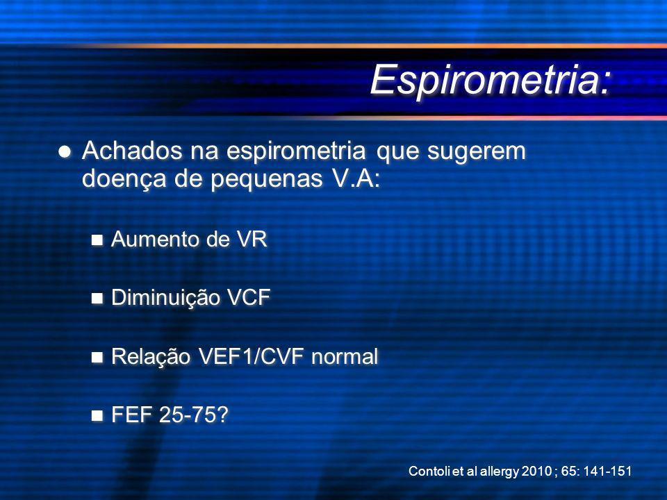 Espirometria: Achados na espirometria que sugerem doença de pequenas V.A: Aumento de VR Diminuição VCF Relação VEF1/CVF normal FEF 25-75? Achados na e