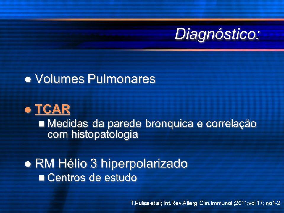 Diagnóstico: Volumes Pulmonares TCAR Medidas da parede bronquica e correlação com histopatologia RM Hélio 3 hiperpolarizado Centros de estudo Volumes