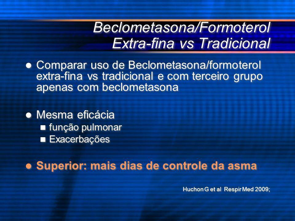 Beclometasona/Formoterol Extra-fina vs Tradicional Comparar uso de Beclometasona/formoterol extra-fina vs tradicional e com terceiro grupo apenas com