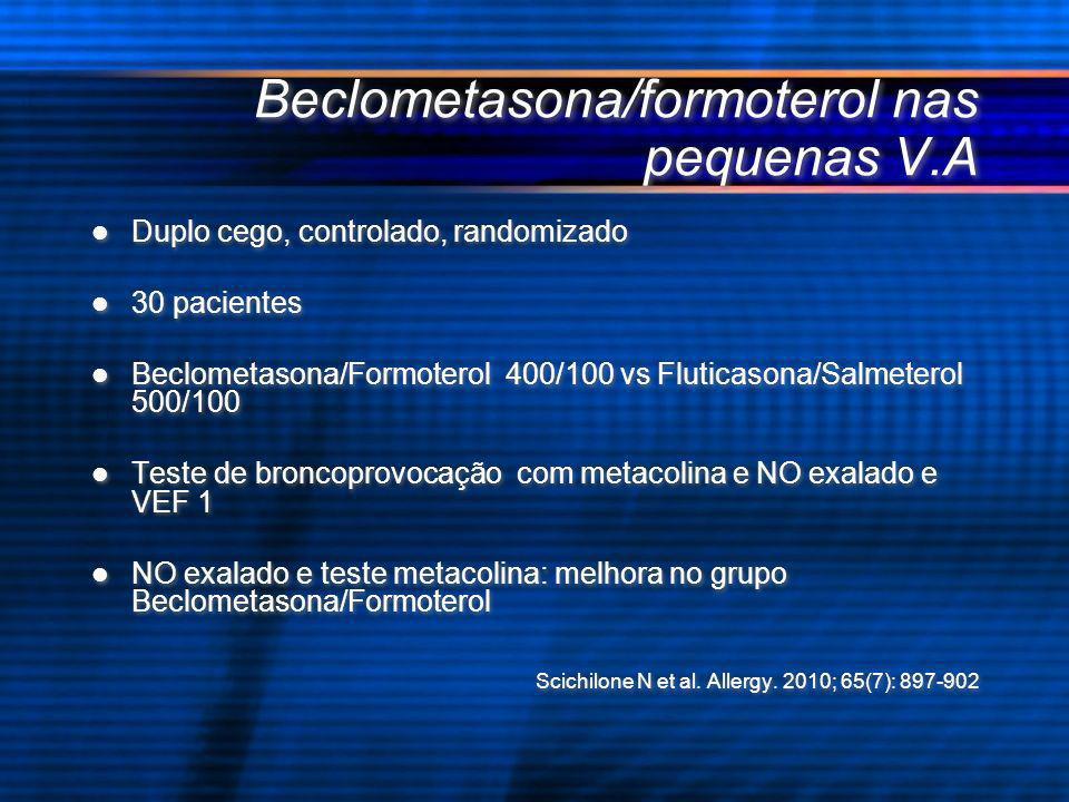 Beclometasona/formoterol nas pequenas V.A Duplo cego, controlado, randomizado 30 pacientes Beclometasona/Formoterol 400/100 vs Fluticasona/Salmeterol