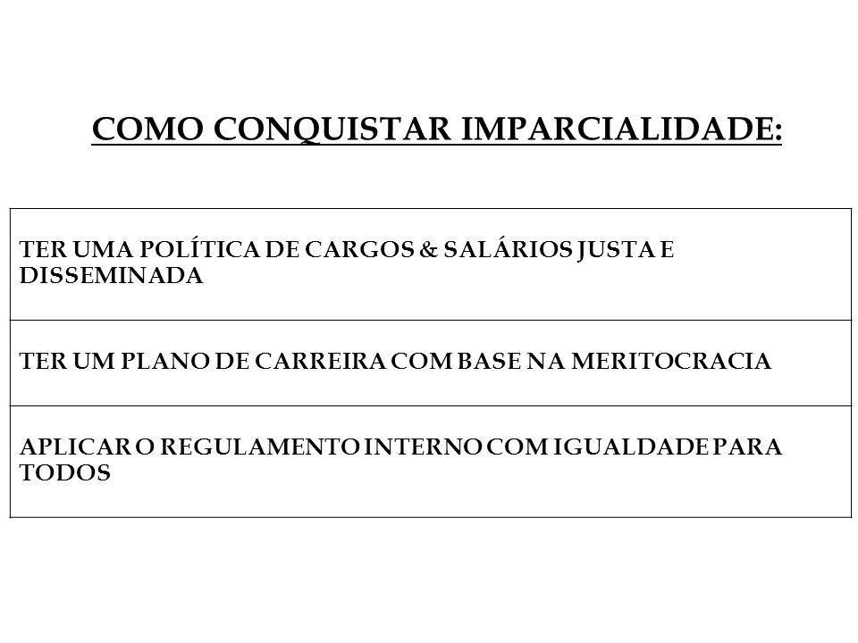 TER UMA POLÍTICA DE CARGOS & SALÁRIOS JUSTA E DISSEMINADA TER UM PLANO DE CARREIRA COM BASE NA MERITOCRACIA APLICAR O REGULAMENTO INTERNO COM IGUALDADE PARA TODOS COMO CONQUISTAR IMPARCIALIDADE: