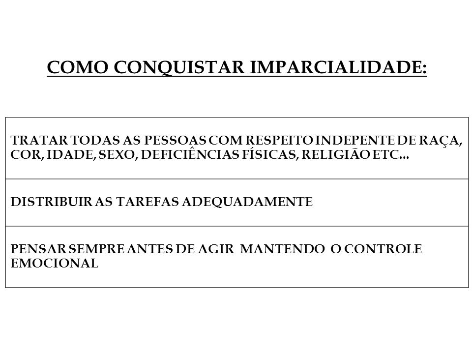 TRATAR TODAS AS PESSOAS COM RESPEITO INDEPENTE DE RAÇA, COR, IDADE, SEXO, DEFICIÊNCIAS FÍSICAS, RELIGIÃO ETC... DISTRIBUIR AS TAREFAS ADEQUADAMENTE PE