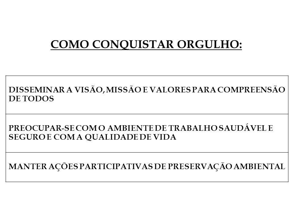 DISSEMINAR A VISÃO, MISSÃO E VALORES PARA COMPREENSÃO DE TODOS PREOCUPAR-SE COM O AMBIENTE DE TRABALHO SAUDÁVEL E SEGURO E COM A QUALIDADE DE VIDA MANTER AÇÕES PARTICIPATIVAS DE PRESERVAÇÃO AMBIENTAL COMO CONQUISTAR ORGULHO: