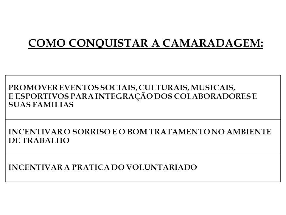 PROMOVER EVENTOS SOCIAIS, CULTURAIS, MUSICAIS, E ESPORTIVOS PARA INTEGRAÇÃO DOS COLABORADORES E SUAS FAMILIAS INCENTIVAR O SORRISO E O BOM TRATAMENTO NO AMBIENTE DE TRABALHO INCENTIVAR A PRATICA DO VOLUNTARIADO COMO CONQUISTAR A CAMARADAGEM: