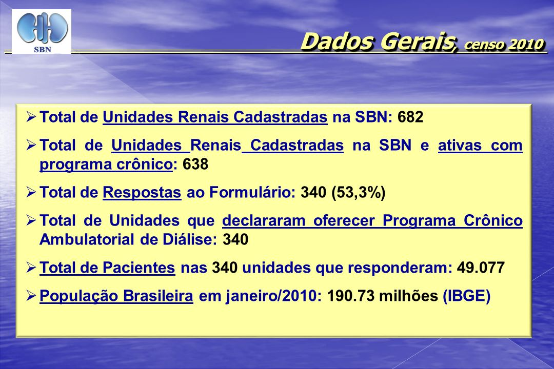 Dados Gerais, censo 2010 Total de Unidades Renais Cadastradas na SBN: 682 Total de Unidades Renais Cadastradas na SBN e ativas com programa crônico: 6