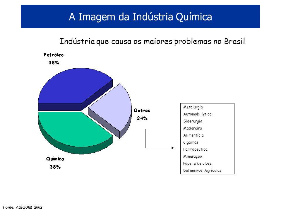 A Imagem da Indústria Química Metalurgia Automobilistica Siderurgia Madereira Alimentícia Cigarros Farmacêutica Mineração Papel e Celulose Defensivos