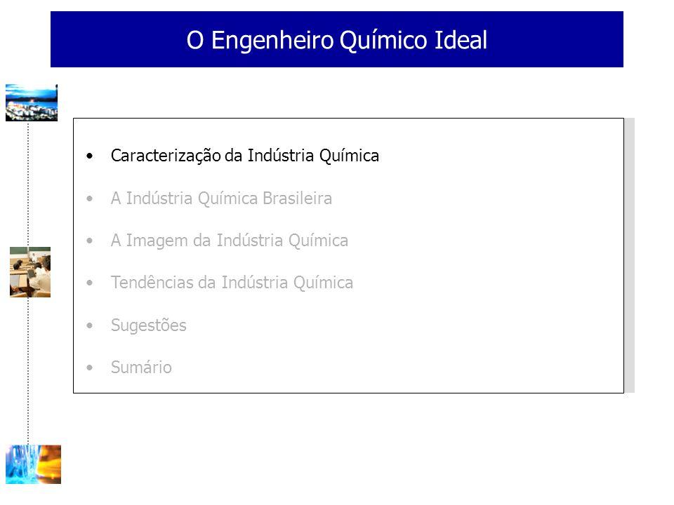 O Engenheiro Químico Ideal Caracterização da Indústria Química A Indústria Química Brasileira A Imagem da Indústria Química Tendências da Indústria Química Sugestões Sumário