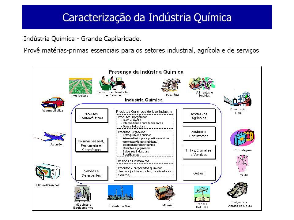 Caracterização da Indústria Química Valor dos Químicos Produtos Químicos: participação em inúmeros produtos finais e responsáveis por grande parte de valor do produto Fonte: ACC
