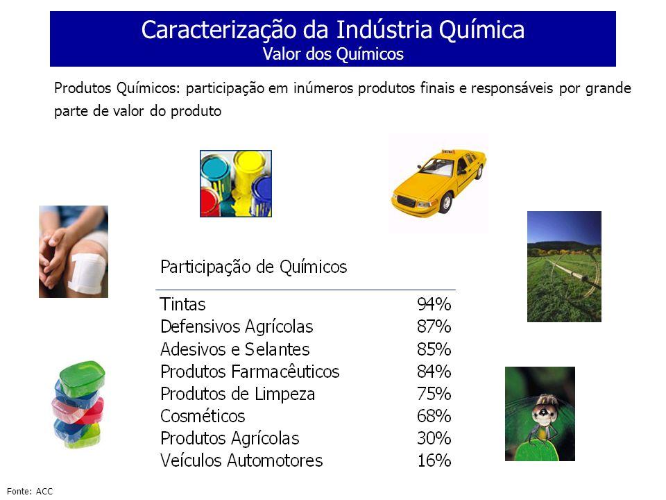 Caracterização da Indústria Química Valor dos Químicos Produtos Químicos: participação em inúmeros produtos finais e responsáveis por grande parte de