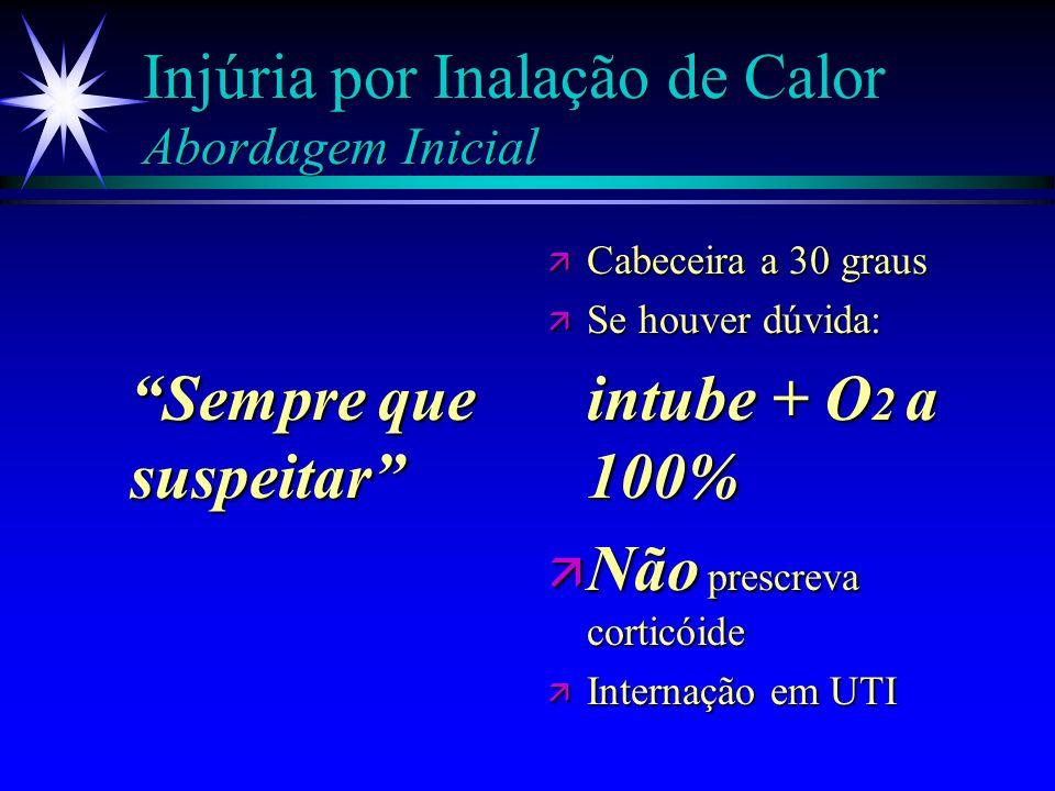 Injúria por Inalação de Calor Caracterização ä Queimadura facial ou vibrissas nasais ä Escarro c/ fuligem ä Hb-CO > 15% ä PaO2/FiO2 < 300 (Observar po