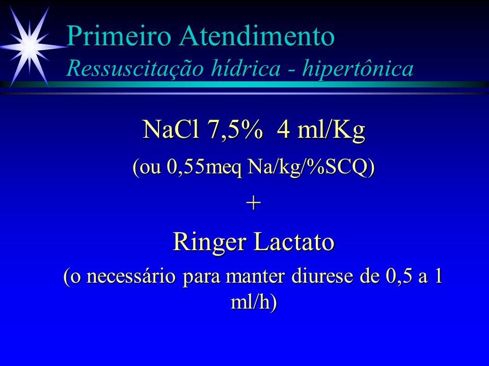 Primeiro Atendimento Ressuscitação hídrica - hipertônica NaCl 7,5% = NaCl 7,5% = 35 ml NaCl 20% 35 ml NaCl 20% + SF0,9% 65 ml SF0,9% 65 ml