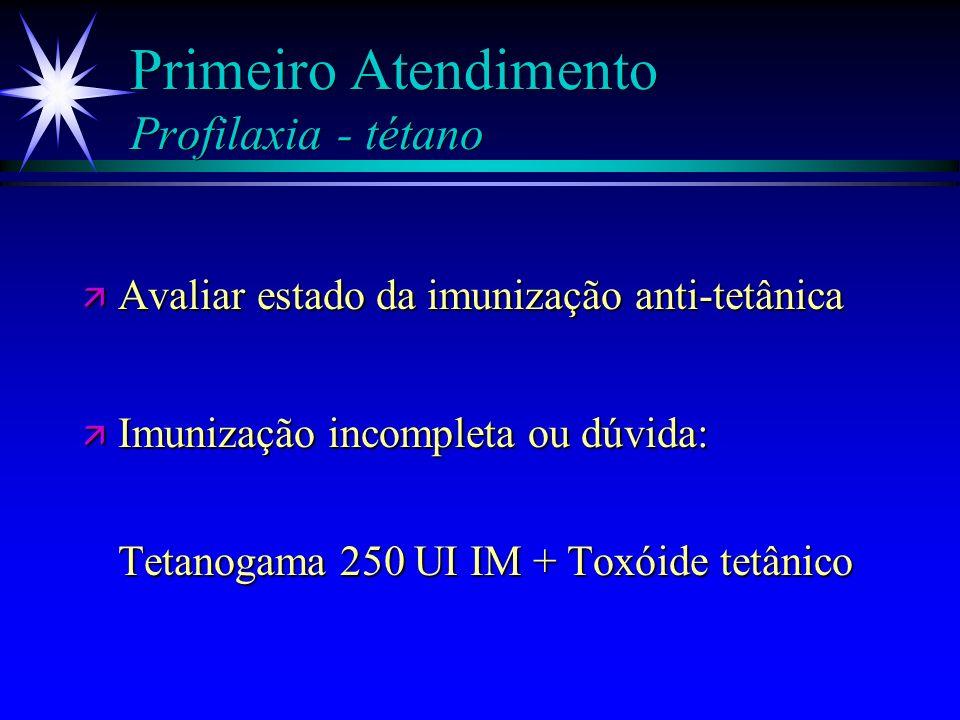 Primeiro Atendimento Analgesia Morfina 0,1 mg/kg EV (repetir SN e atentar para depressão respiratória) Morfina 0,1 mg/kg EV (repetir SN e atentar para