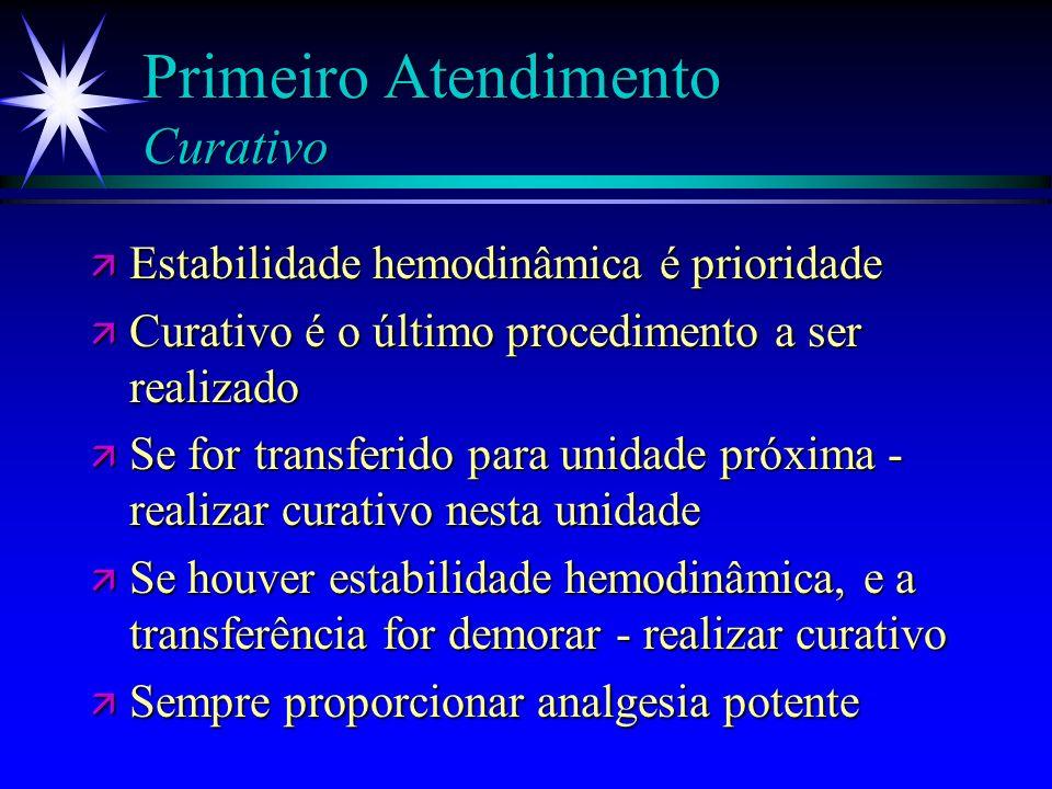 Primeiro Atendimento Exames preliminares ä Gasometria arterial, hemograma, Na, K, glicemia, creatinina, urinálise ä CPK se queimadura elétrica ä ECG s