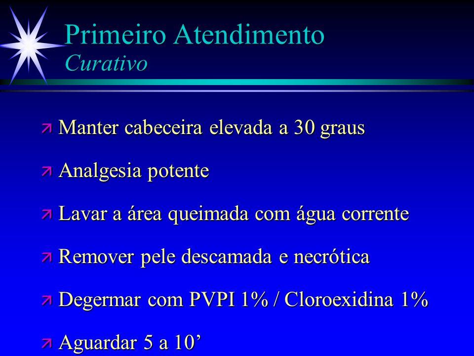 Primeiro Atendimento Curativo ä Estabilidade hemodinâmica é prioridade ä Curativo é o último procedimento a ser realizado ä Se for transferido para un