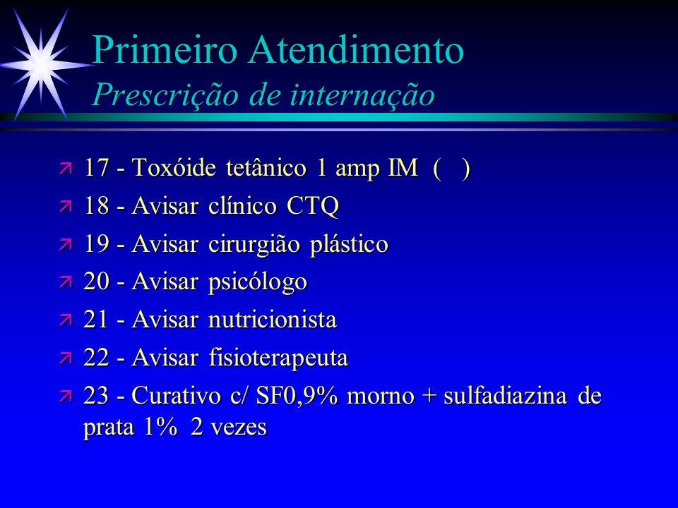 Primeiro Atendimento Prescrição de internação ä 11 - Morfina 0,05-0,1mg/kg ev de 4/4 h ( ) ä 12 - Heparina 5000 U SC de 8/8 h ä 13 - Ranitidina 50 mg