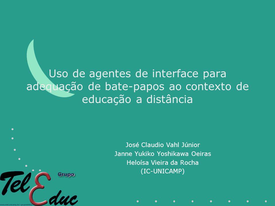 Uso de agentes de interface para adequação de bate-papos ao contexto de educação a distância José Claudio Vahl Júnior Janne Yukiko Yoshikawa Oeiras Heloísa Vieira da Rocha (IC-UNICAMP)